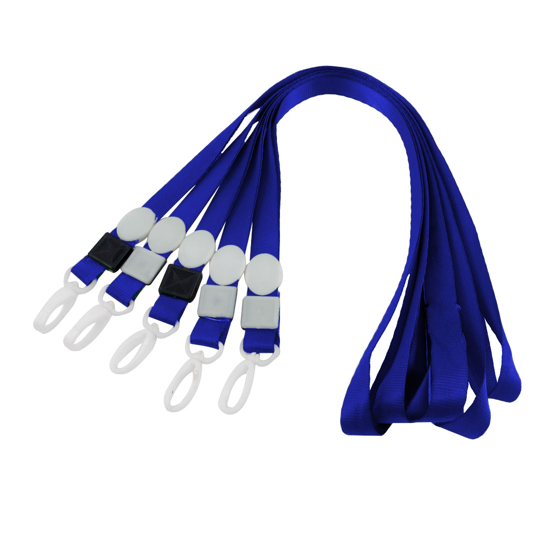 Plastic Swivel Clip ID Pass Card Keys Badge Holder Lanyard Neck Strap Blue 5pcs