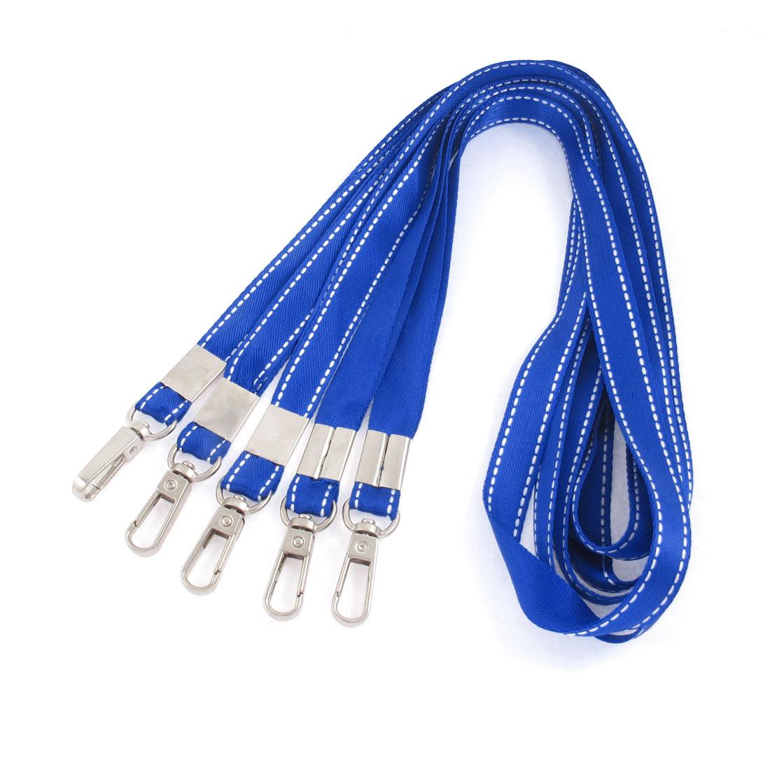 Work Card USB Keys Phone Holder Keychain Cord Lanyard Neck Strap Royal Blue 5pcs