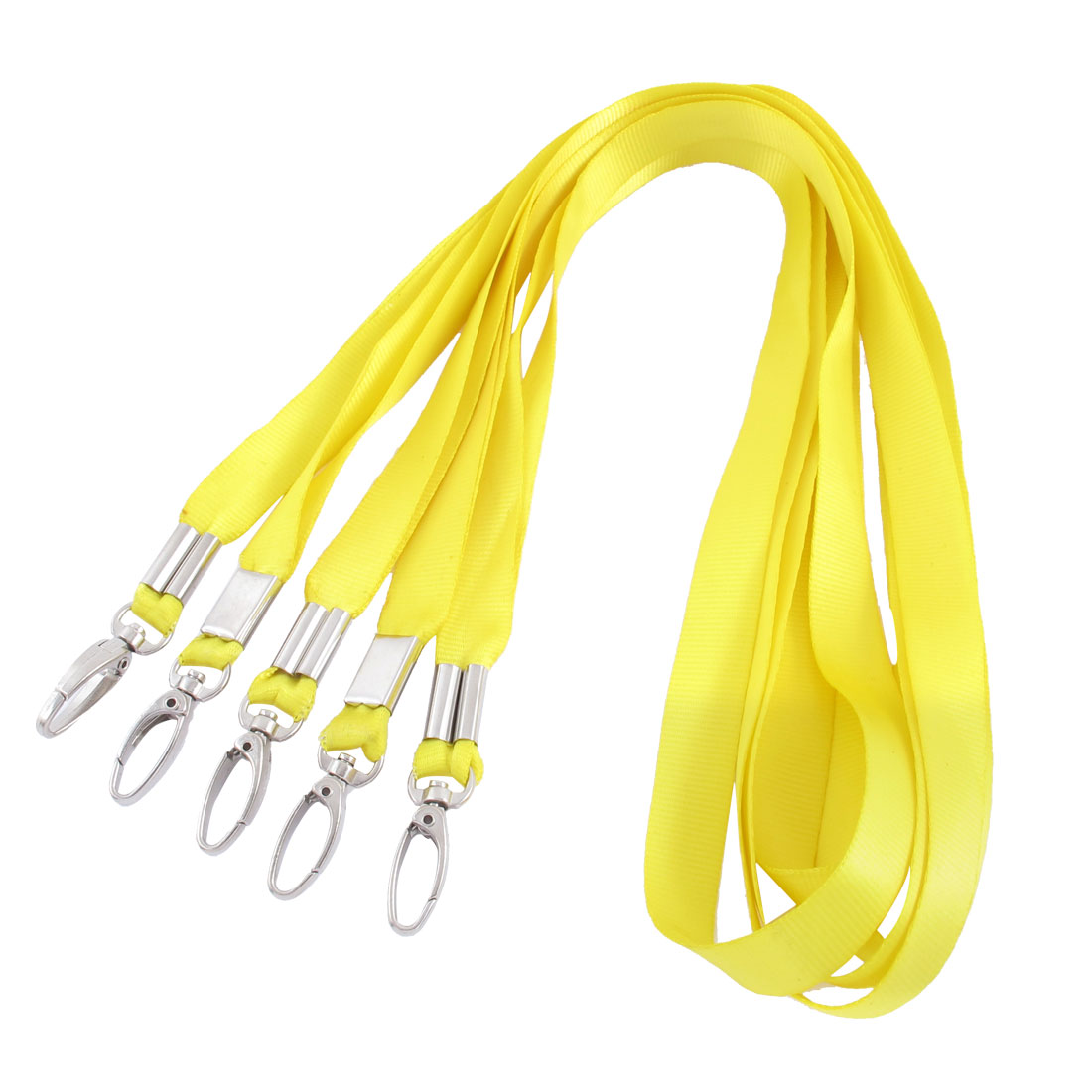 Nylon Cell Phone MP3 Badge Tag Work Card Holder Lanyard Neck Strap Yellow 5pcs