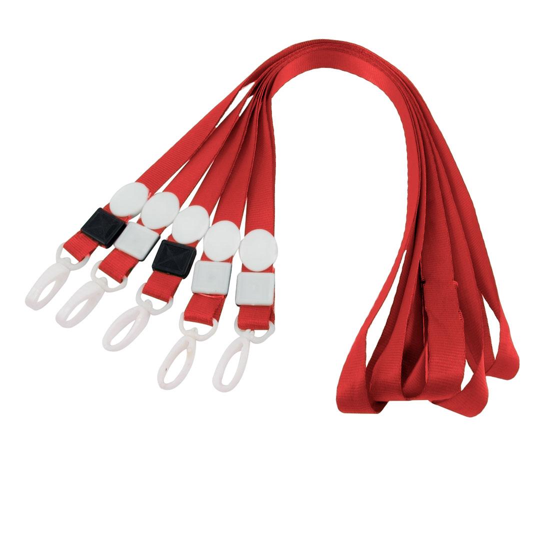 5pcs Swivel Clip ID Card Keys Badge Holder Lanyard Neck Strap Red 42cm Long