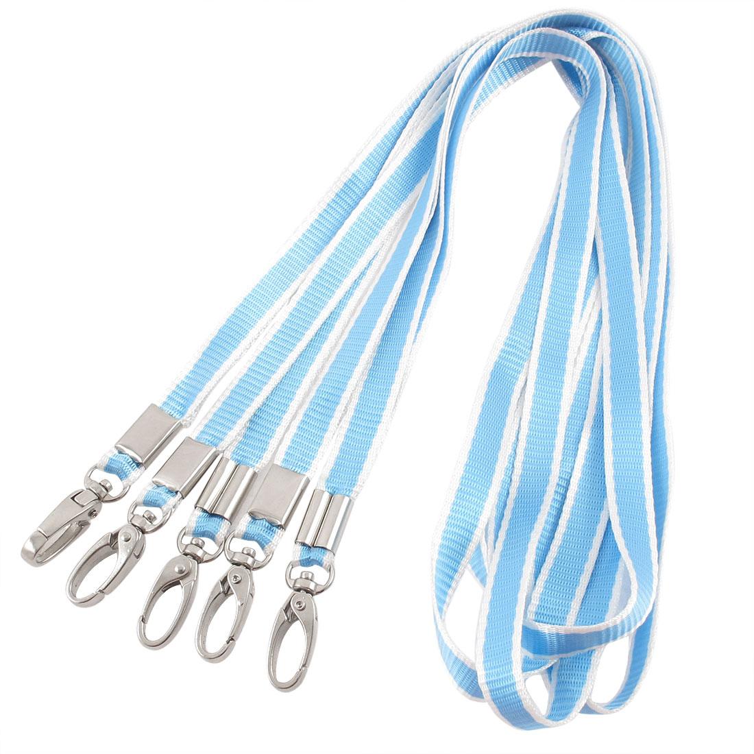Business Card Badge Keys Holder Lobster Clasp Lanyard Neck Strap Blue 5pcs