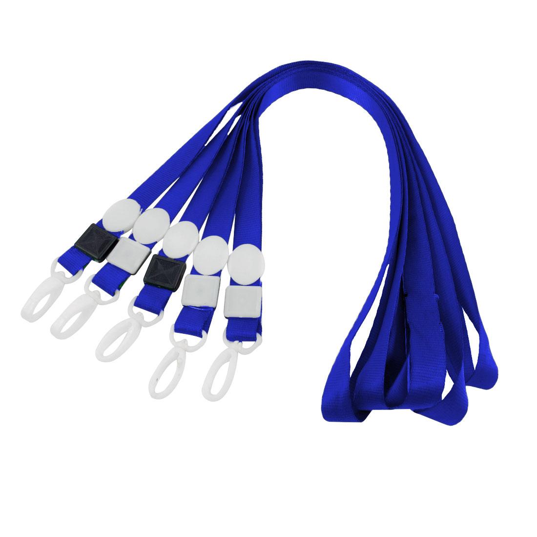5pcs Swivel Clip ID Card Keys Badge Holder Lanyard Neck Strap Blue 42cm Long