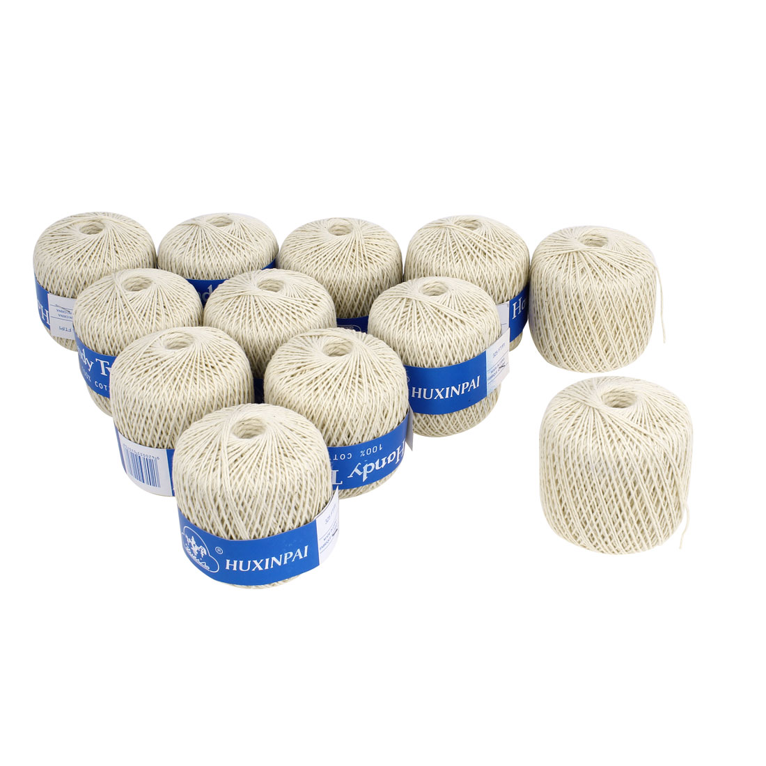 12PCS Beige 1mm Dia String Packaging Label Binding Sewing Cotton Twine 99M