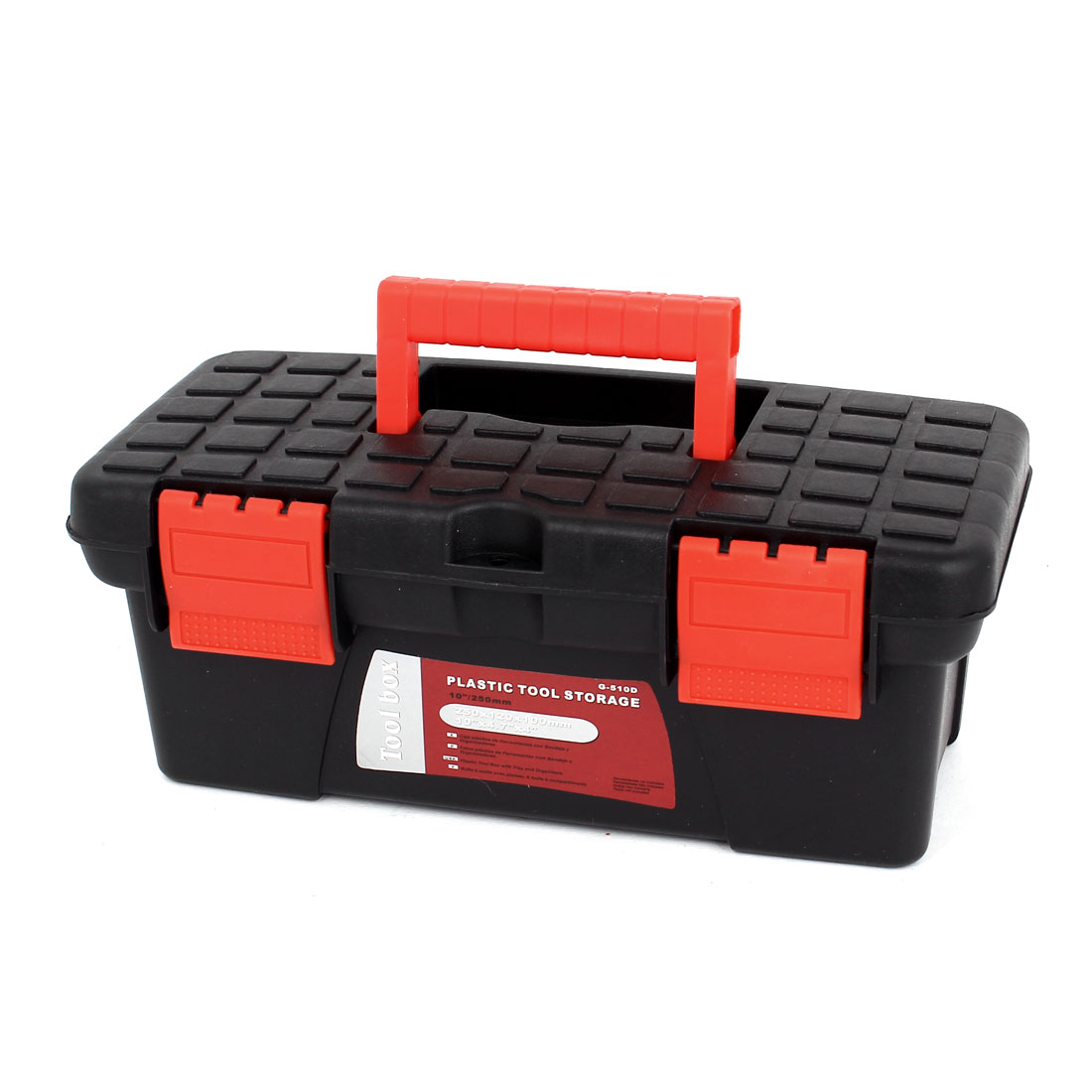 Black Red Plastic 2 Layers Multipurpose Hardware Tool Box 250mmx120mmx100mm