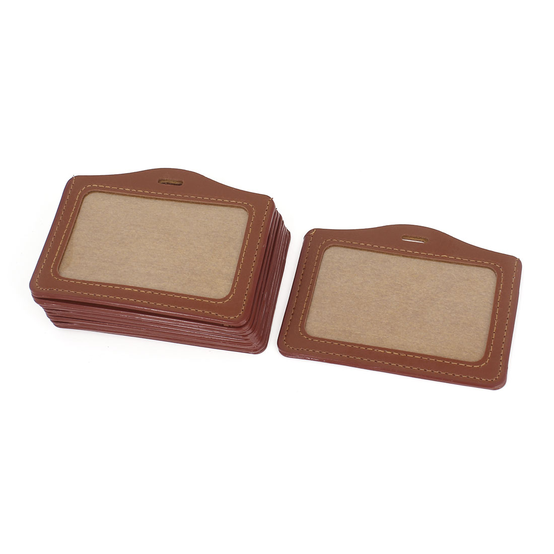 Office Staff Faux Leather Business ID Badge Card Holder Brown 10PCS