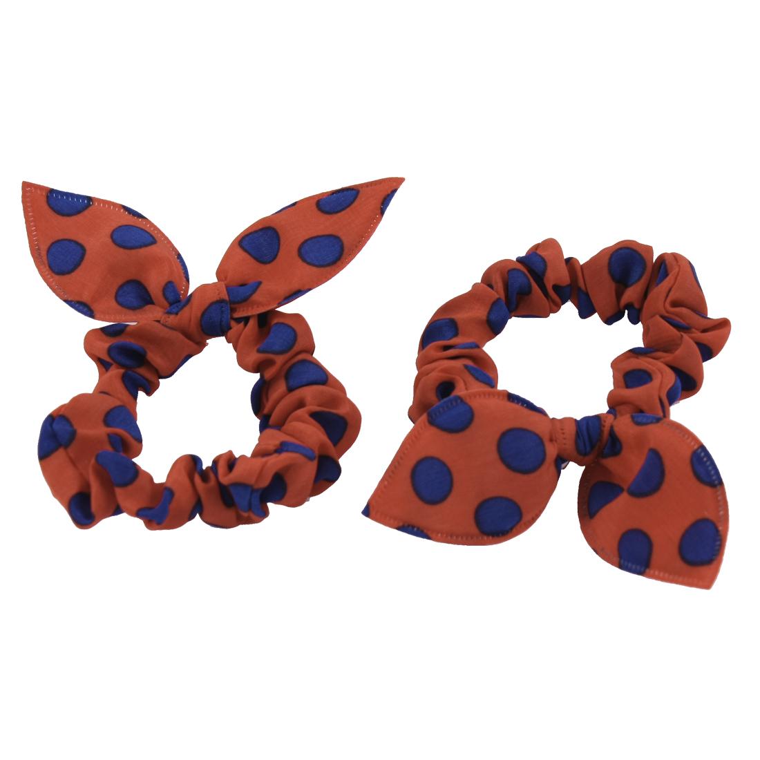 Blue Orange Dots Pattern Rabbit Ear Style Stretchy Ponytail Holder 2 Pcs