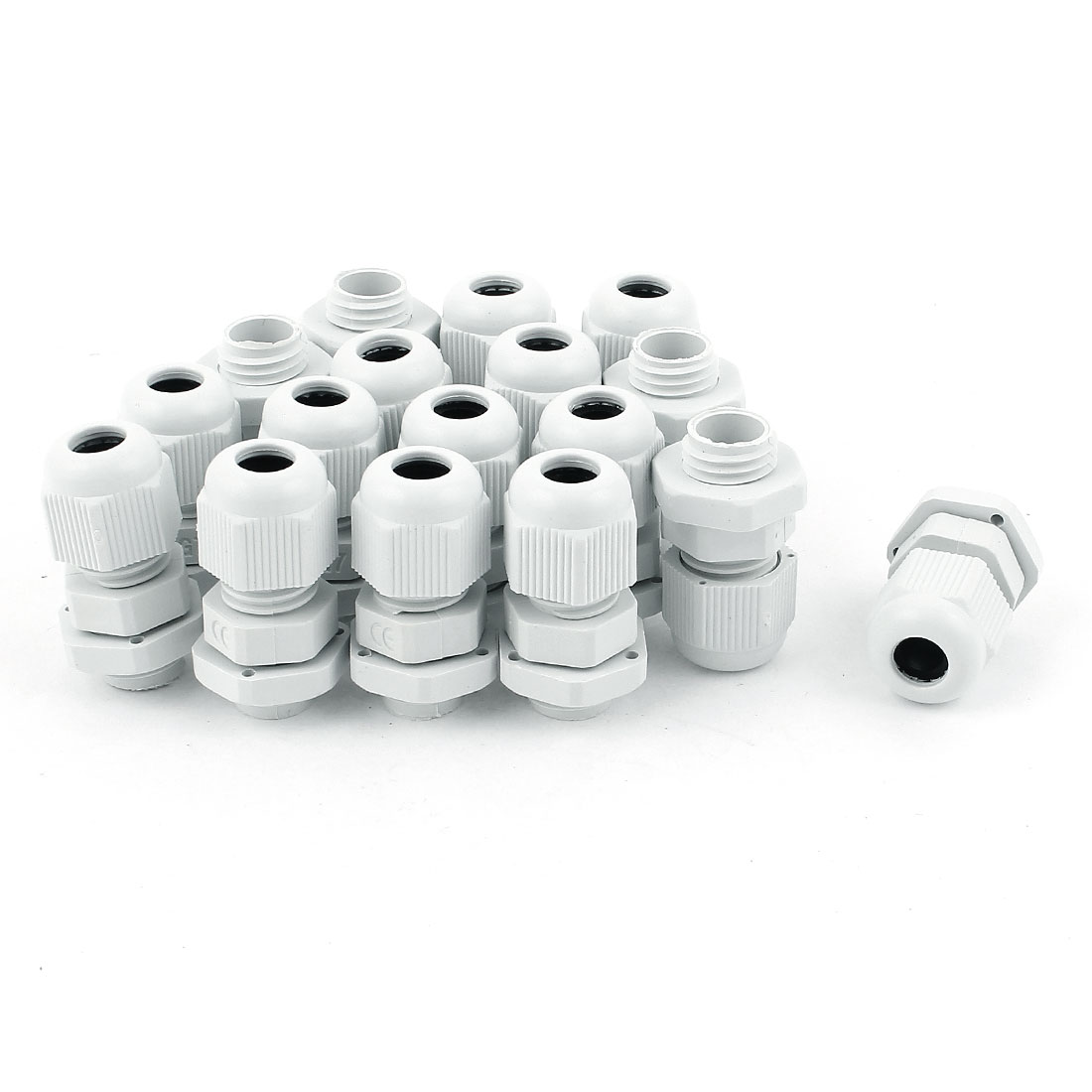 17pcs PG7 Waterproof Cable Glands Plastic Connector for 3-6.5 mm Dia Wire