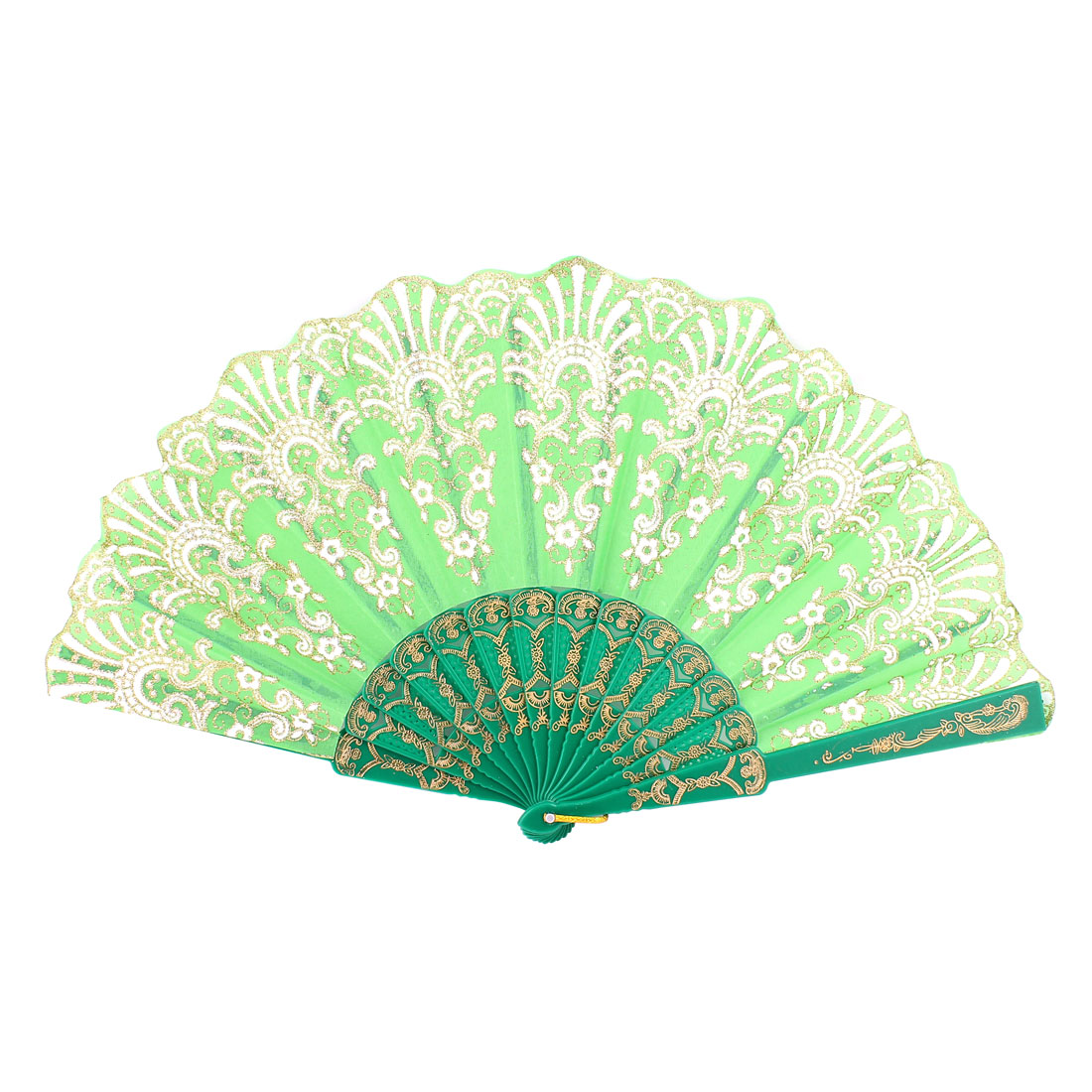 "Wedding Bridal Party Plastic Rib Flower Print Handheld Folding Hand Fan Green 9"""