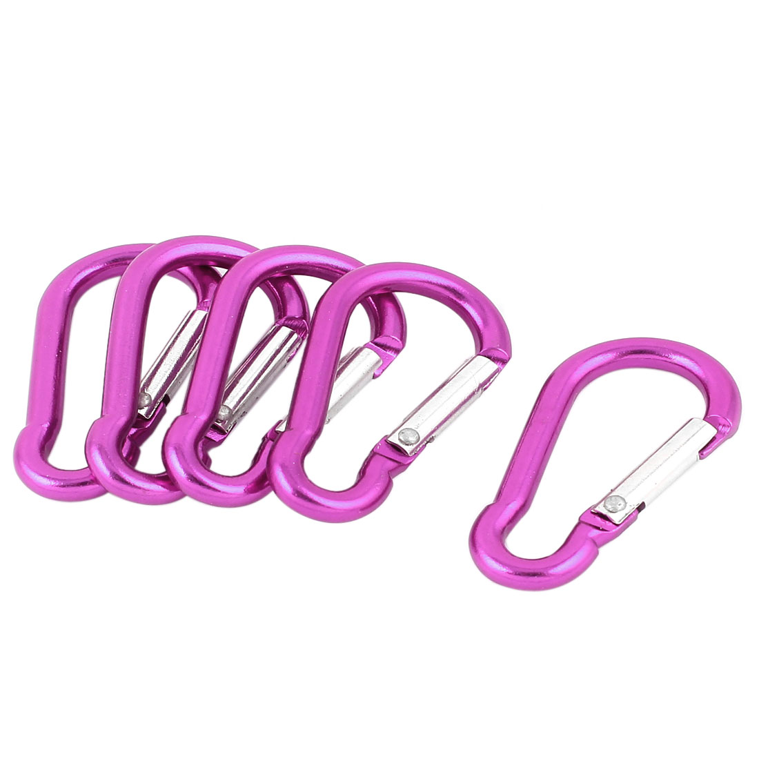 Travel Camping Hiking Aluminum Clip Hook D-Ring Keychain Carabiner 5 Pcs Fuchsia