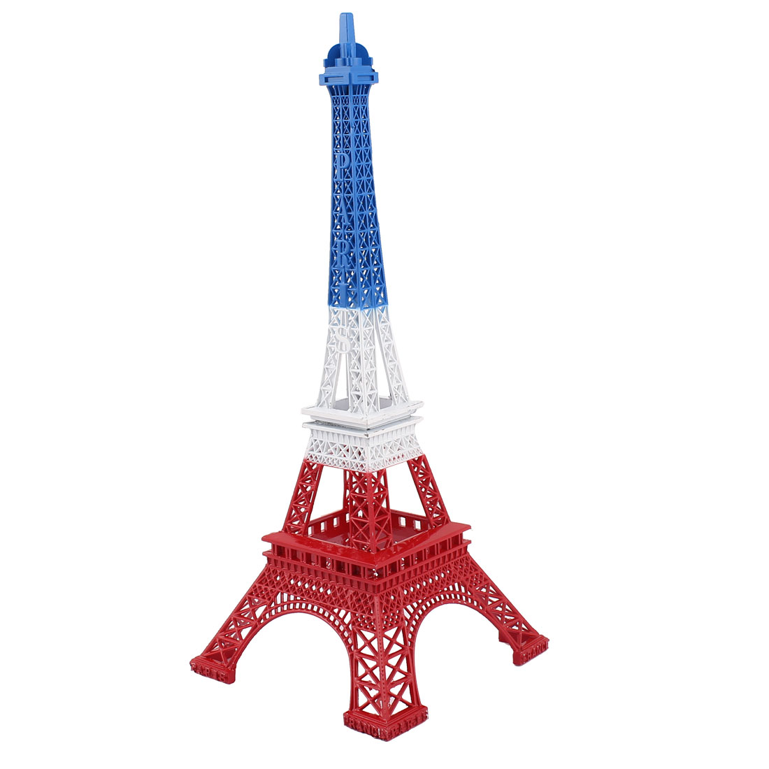 "Clear Rhinestone Inlaid Detachable Metal Mini France Paris Eiffel Tower Figurine Statue Model Ornament White Blue Red 38cm 15"""