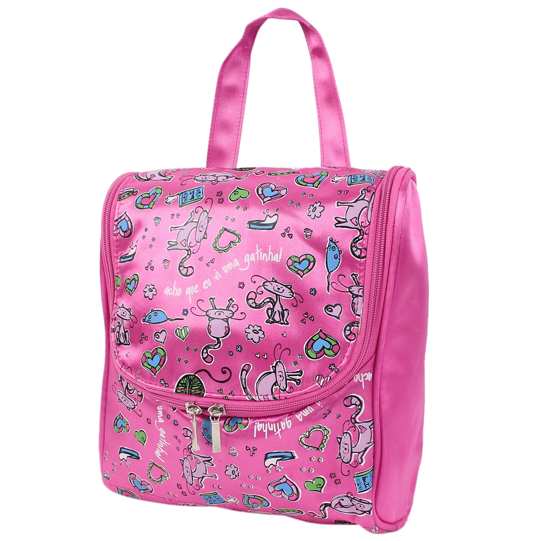 Lady Polyester Cartoon Cat Print Travel Toiletry Cosmetic Storage Handbag Pink