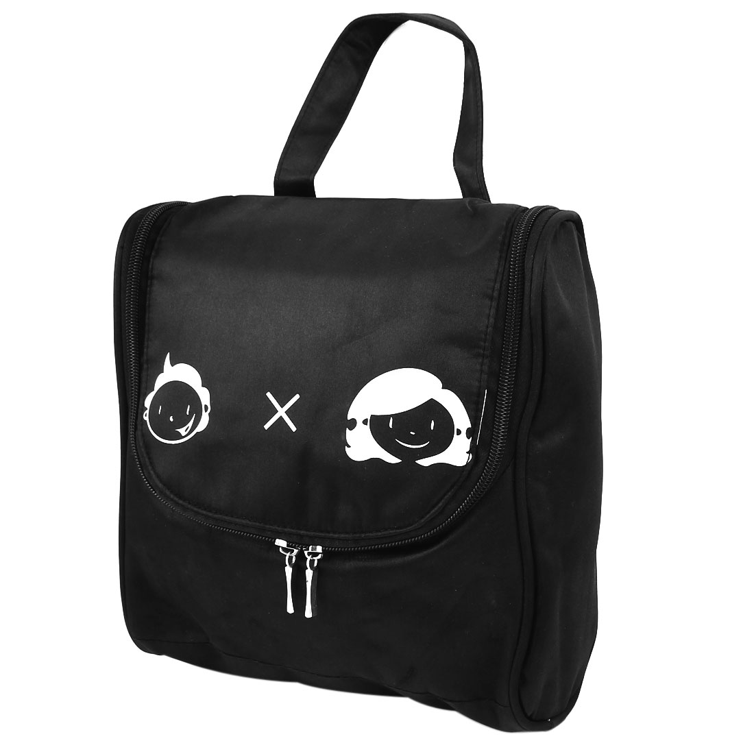 Lady Polyester Cartoon Eyes Print Travel Toiletry Cosmetic Storage Handbag Black