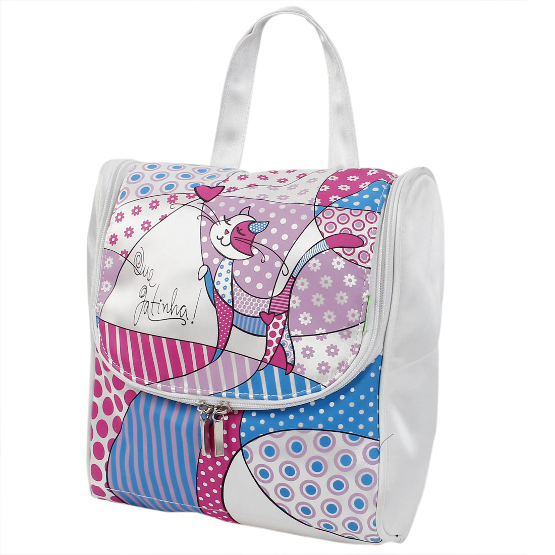 Lady Polyester Cartoon Cat Print Travel Toiletry Cosmetic Storage Handbag White