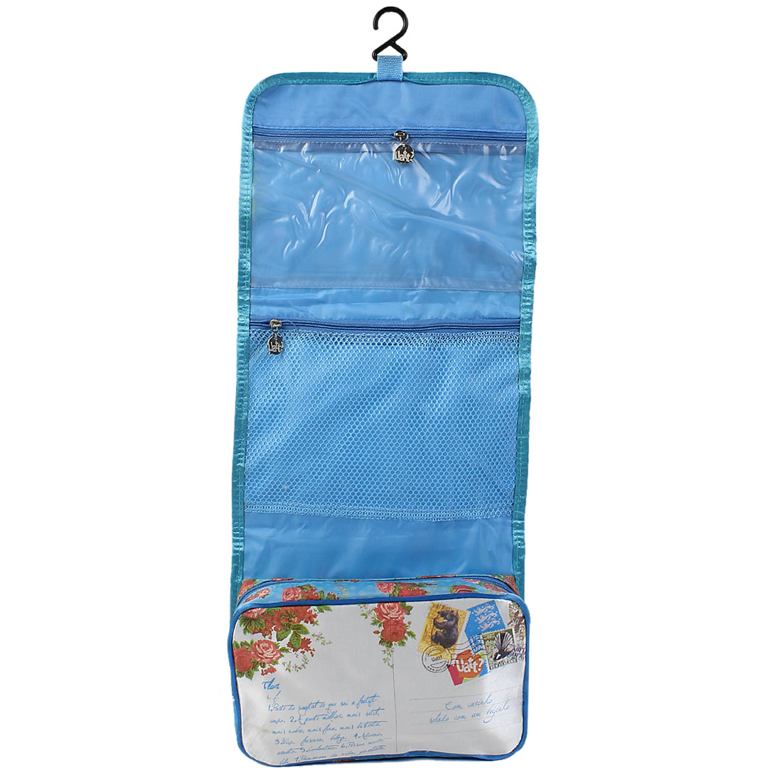 Women Polyester Travel Toiletry Wash Foldable Cosmetic Storage Handbag Blue