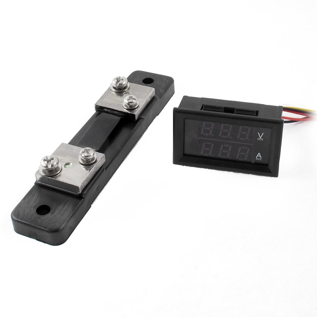 100V 999mA DC Digital Voltmeter Ammeter LED Ampere Volt Meter YB27VA + Current Shunt