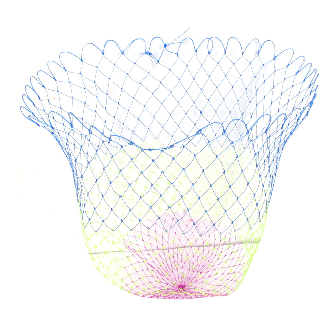 "Multicolor 2.5 x 2.5cm Mesh Hole 19.6"" Depth Foldable Plastic Fishing Net"