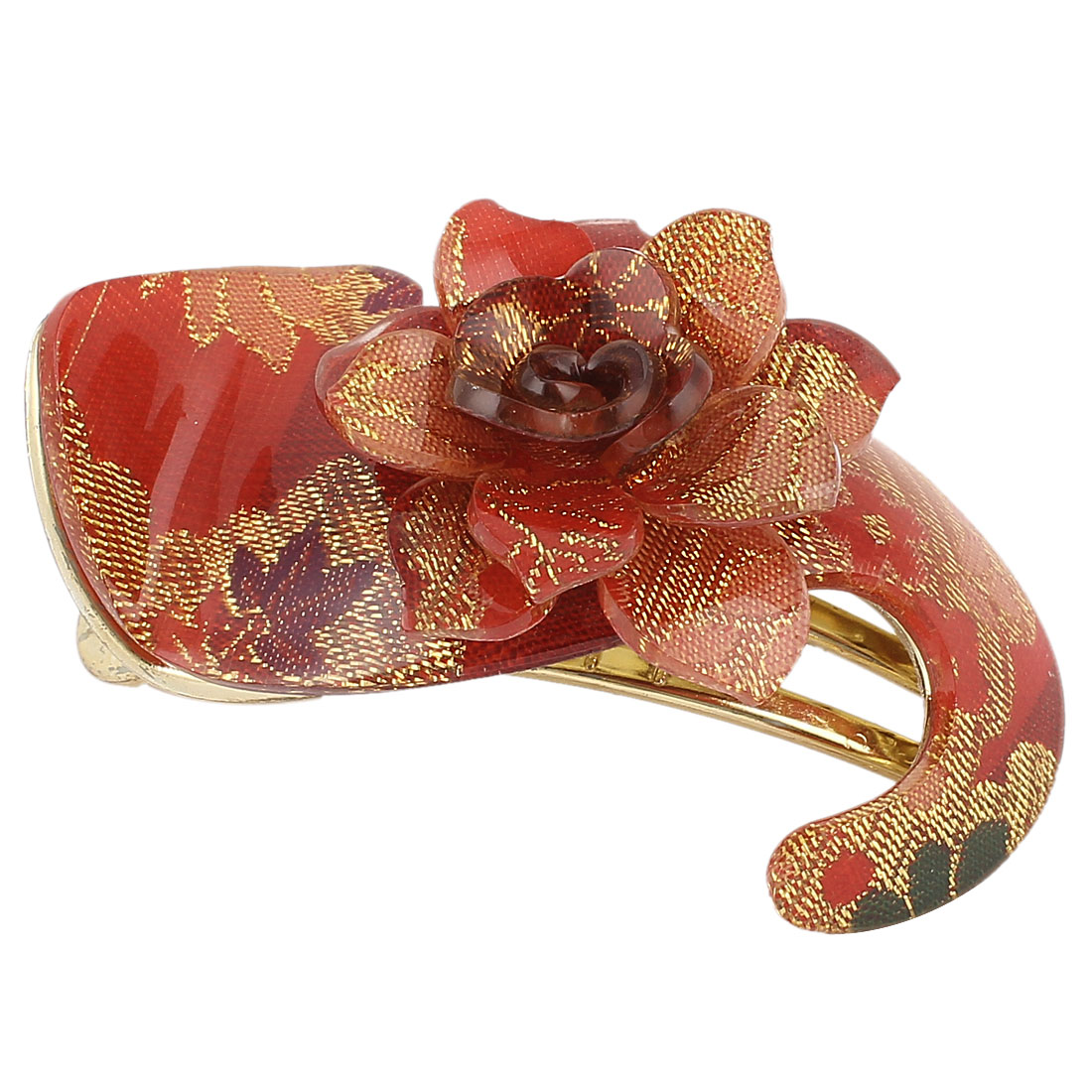 Red Flower Decor S Shaped Gold Tone Plastic Hair Clip Hairclip for Lady