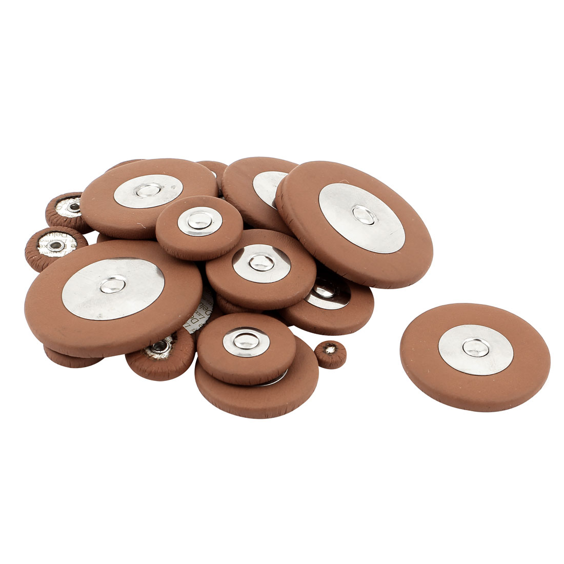 New 25pcs 14Sizes Coffee Color Faux Leather Alto Saxophone Sax Pads Assortment Kit