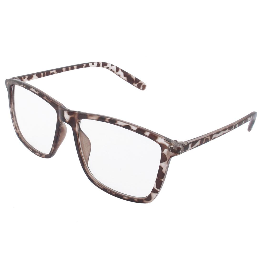 Brown Plastic Leopard Pattern Frame Full Rims Clear Lens Glasses Spectacles