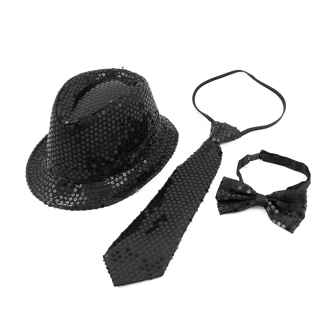 Men Women Fancy Dress Costume Dancing Shiny Sequins Decor Jazz Hat Set Black