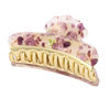 Women Plastic Floral Pattern Headdress Barrette Hair Claw Clamp Clip Gold Tone