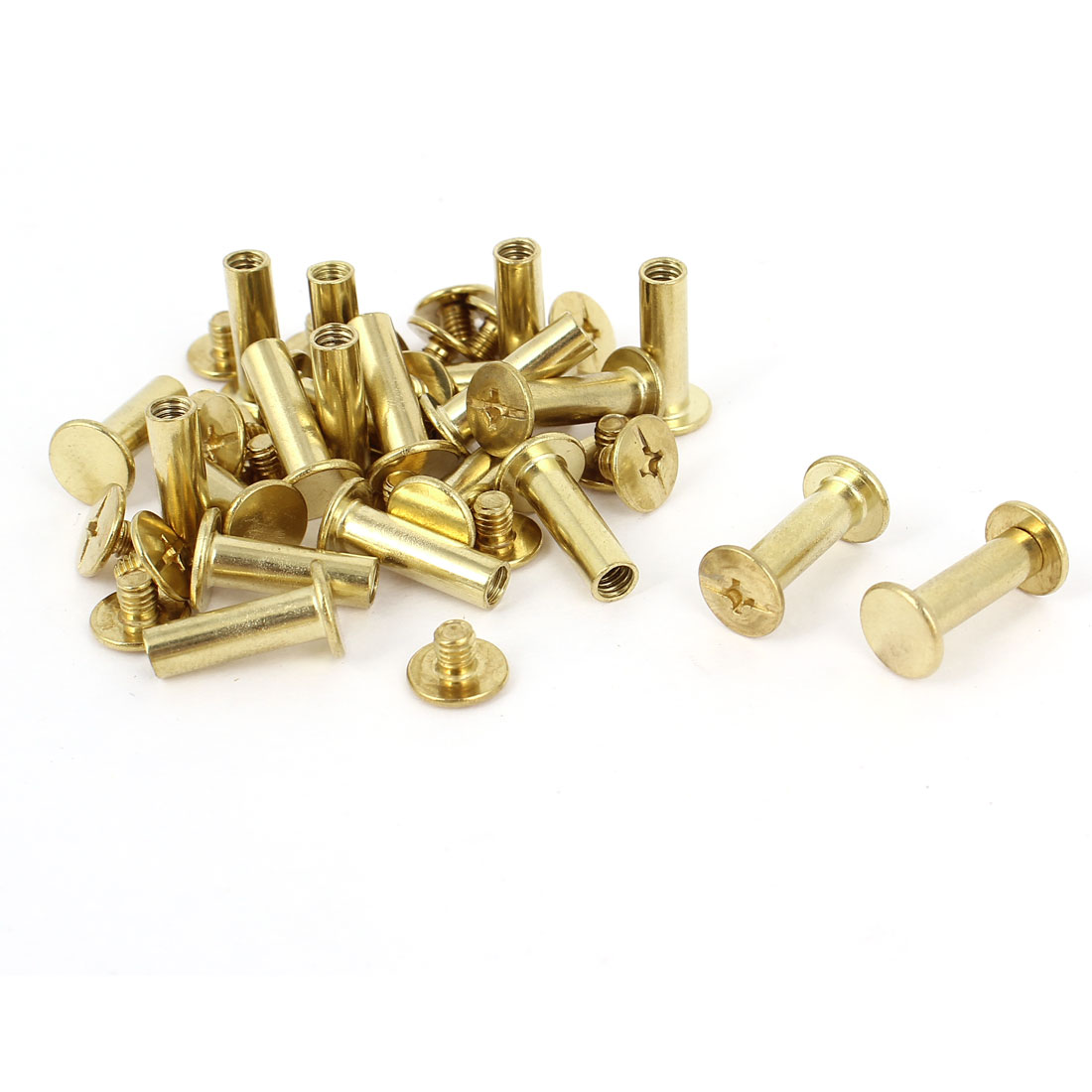 5mmx15mm Brass Plated Binding Chicago Screw Post 20pcs for Leather Purse Belt