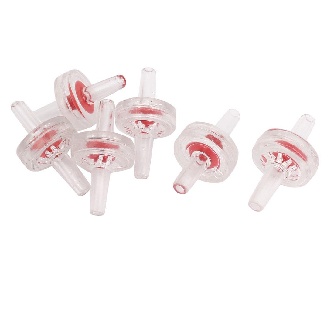 Fish Tank Air Pump Clear Red Plastic Non-return Check Valves 6 Pcs