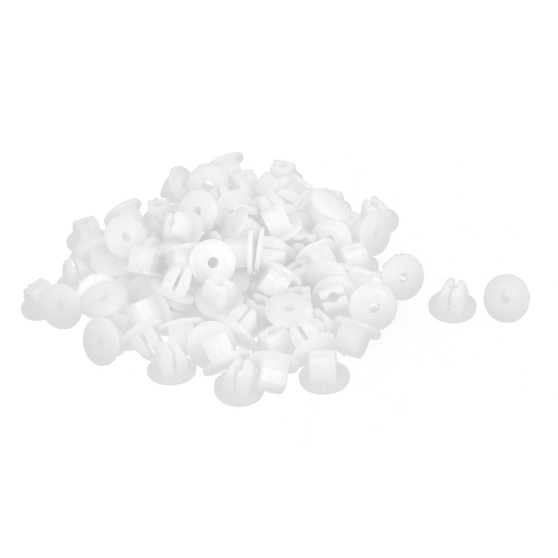 100 Pcs White Plastic Rivet Fastener Mud Flaps Bumper Fender Clips 8mm x 16mm x 26mm