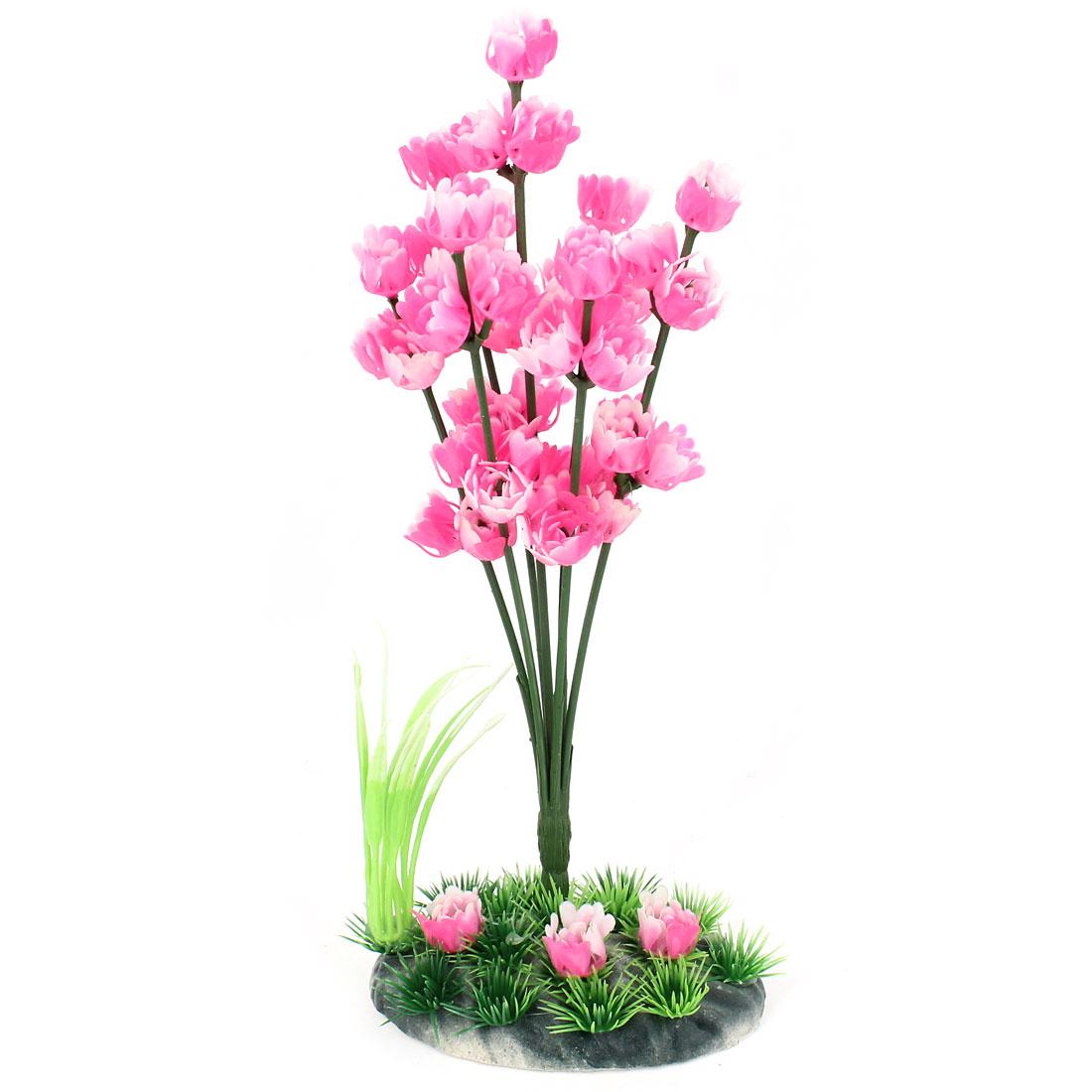 "Plastic Aquarium Tank Grass Plant Ceramic Base Decoration 10"" Height Pink Green"