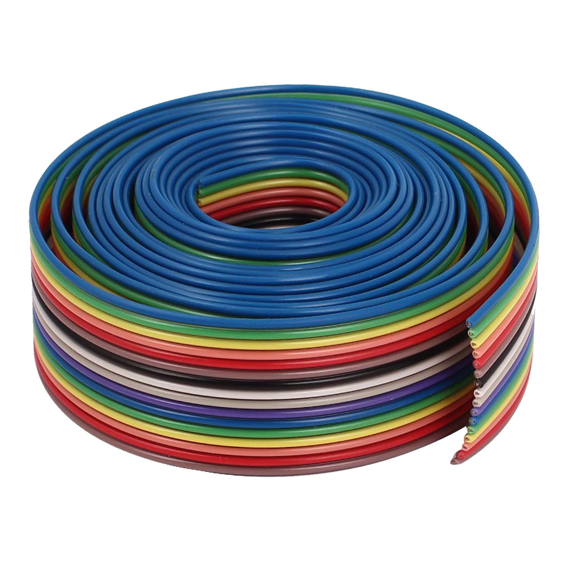 1.7M 1.27mm Pitch 16 Pin Flat Rainbow Color IDC Ribbon Extension Cable Wire