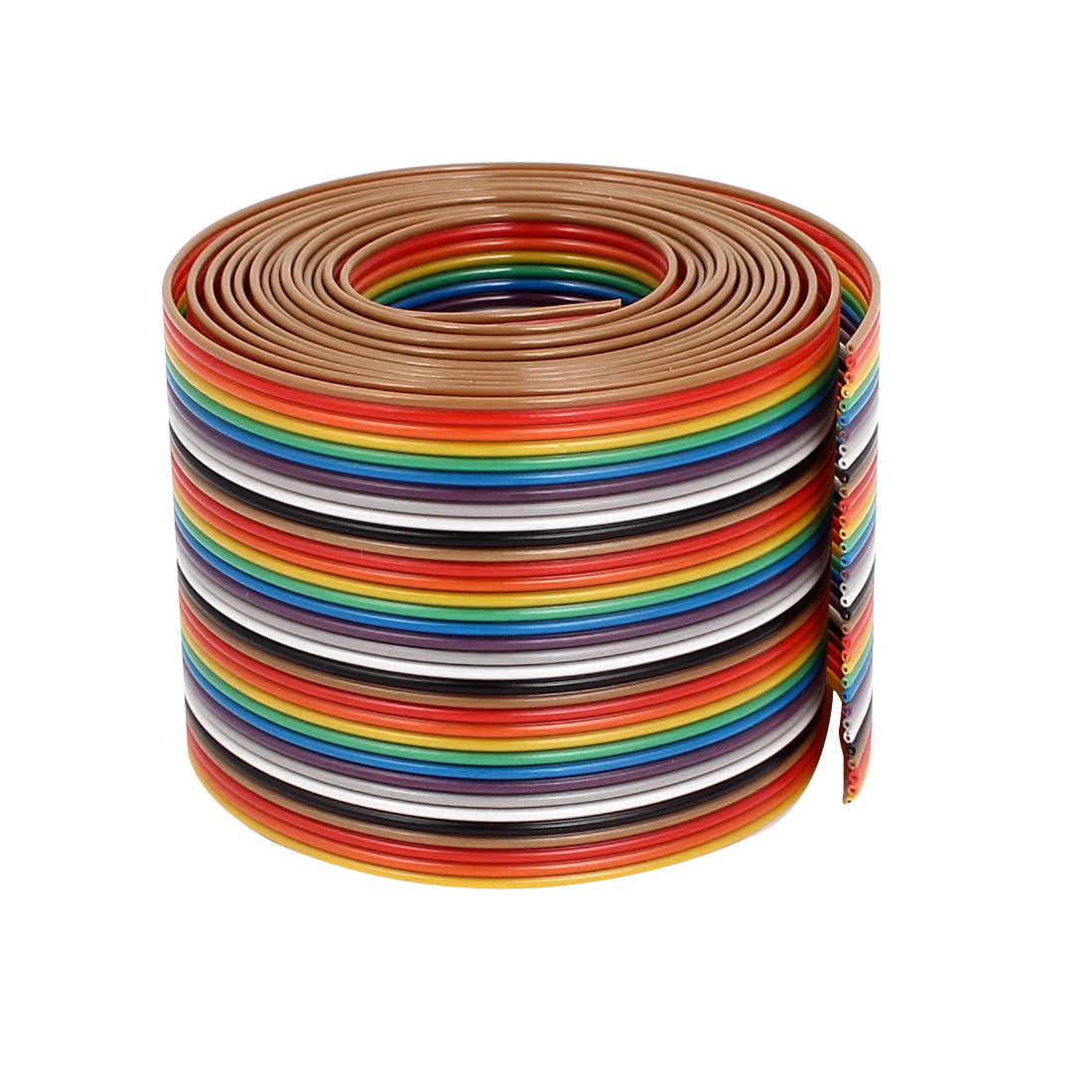 1.75M 1.27mm Pitch 34 Pin Flat Rainbow Color IDC Ribbon Extension Cable Wire