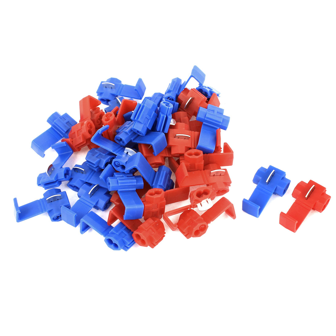 40 Pcs Car Red Blue Splitter Button Clip Wire Quick Connector for 2.5mm2 Cable