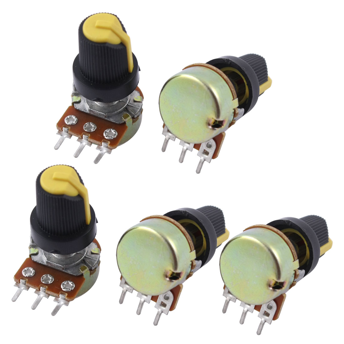 5 Pcs B250K 250K Ohm 3 Terminals Rotary Audio B Type Potentiometer Pot