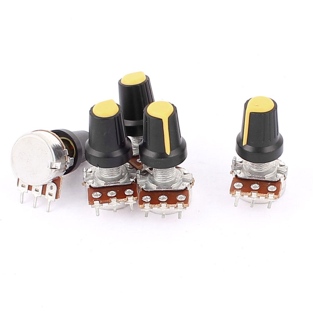 5 Pcs B10K 10K Ohm 3 Terminal Rotary Audio B Type Potentiometer Pot Height 31cm