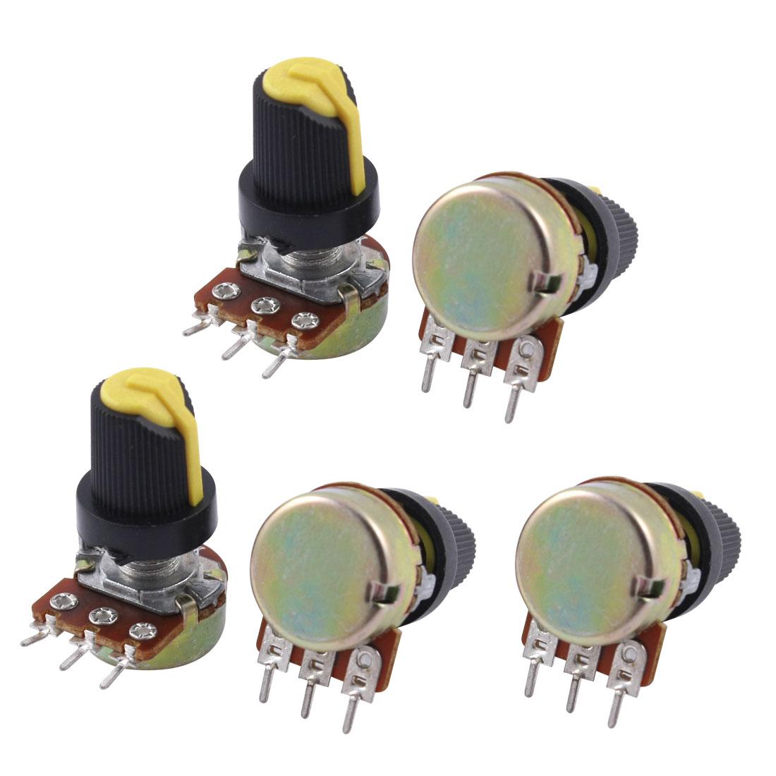 5Pcs B50K 50K Ohm 3 Terminals Rotary Audio Single Linear Potentiometer Pot