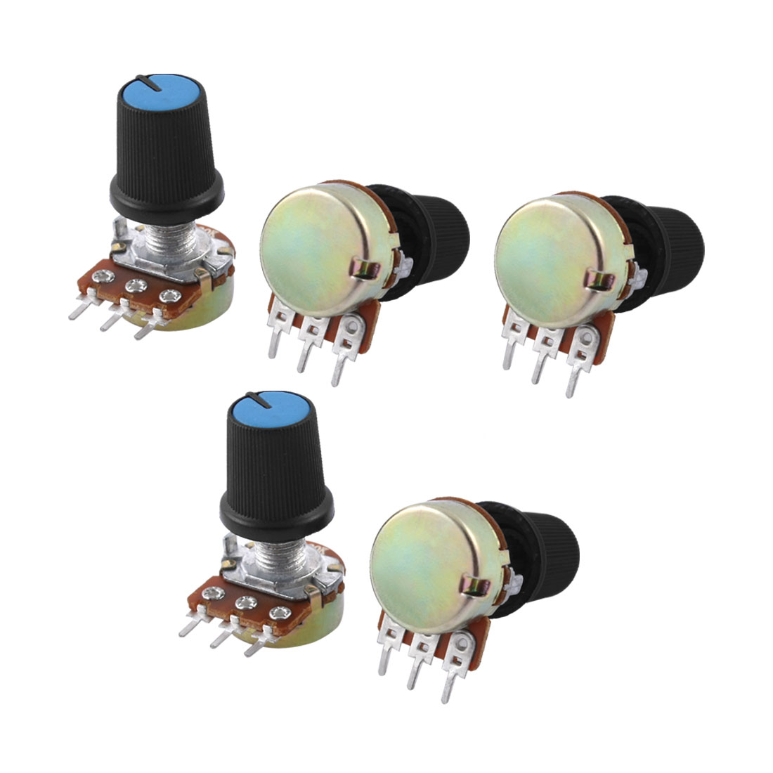 5 Pcs B100K 100K Ohm 3 Terminals Rotary Audio Single Linear Potentiometer Pot