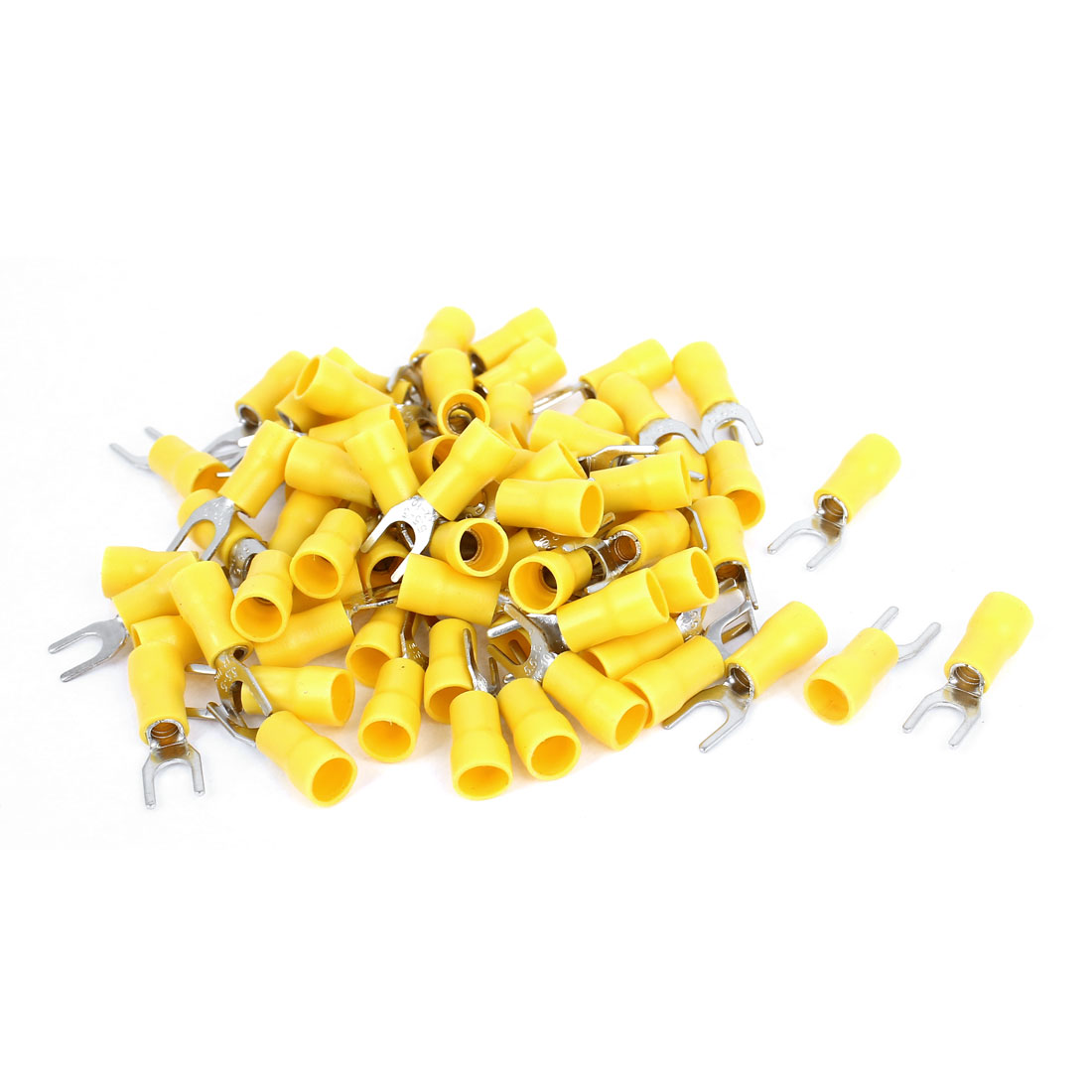95 Pcs SV5.5-5 12-10 AWG Fork Type Insulated Cable Terminals Connector Yellow