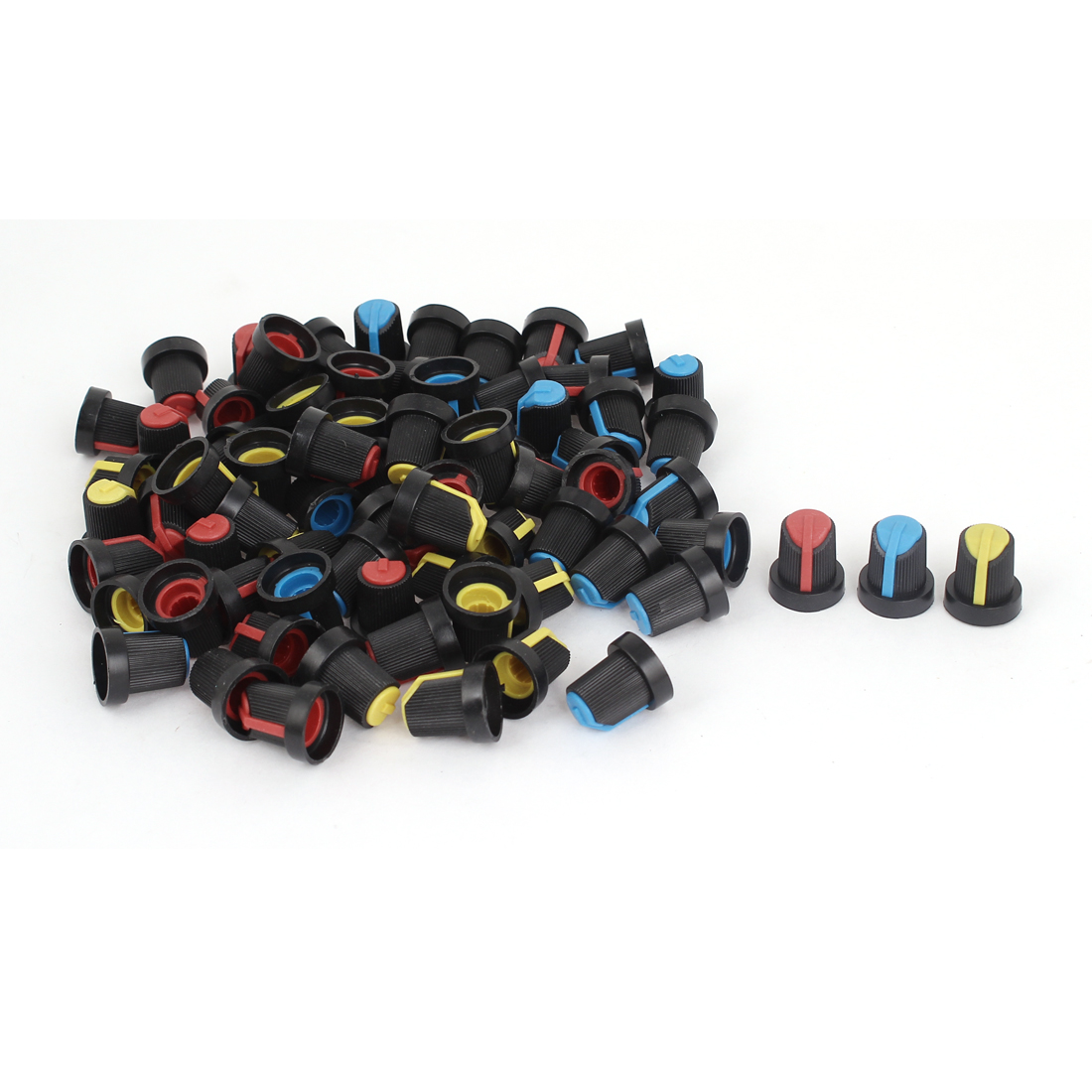 Knurled Shaft 6mm Hole Dia Potentiometer Volume Control Knob Cap 75 Pieces
