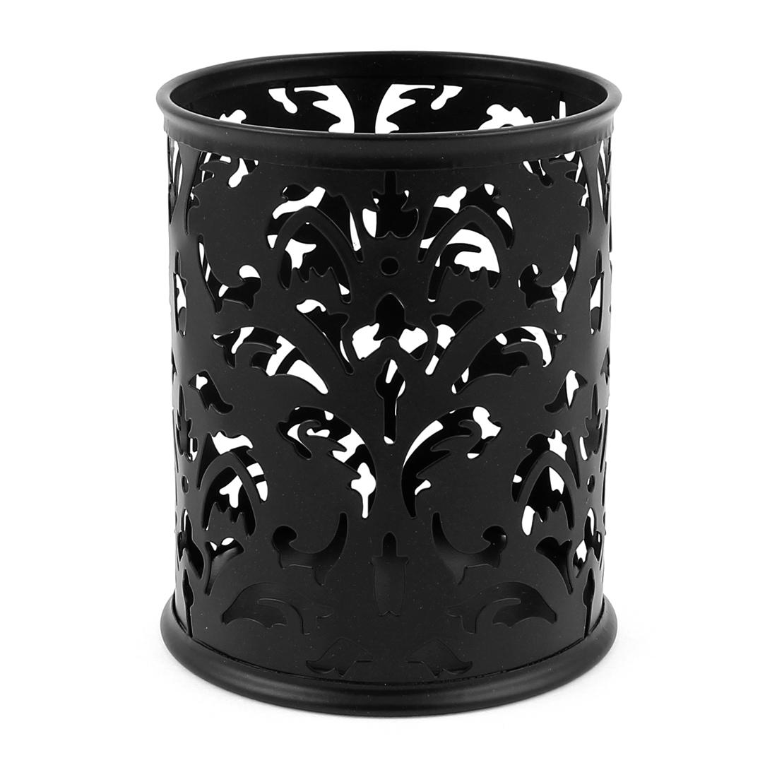 Hollow Flower Design Cylinder Pen Pencil Pot Holder Container Organizer Black