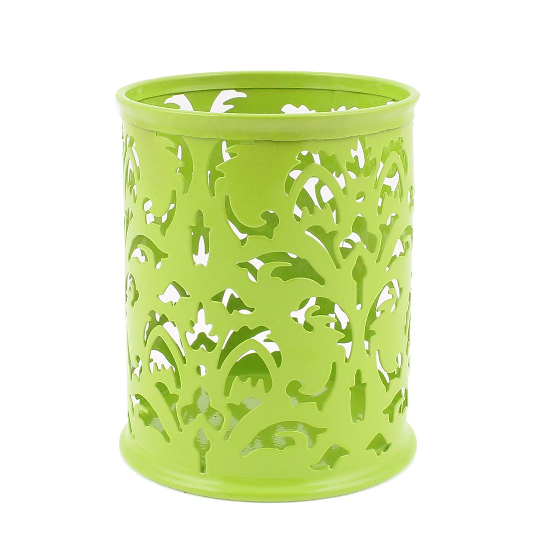 Hollow Flower Design Cylinder Pen Pencil Pot Holder Container Organizer Green