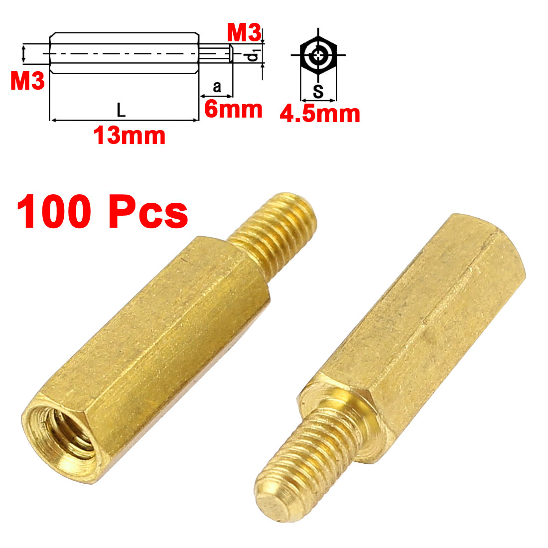 100Pcs M3 Male to Female 13mm+6mm Screw Threaded Brass Hex Standoff Spacer for PCB Motherboard