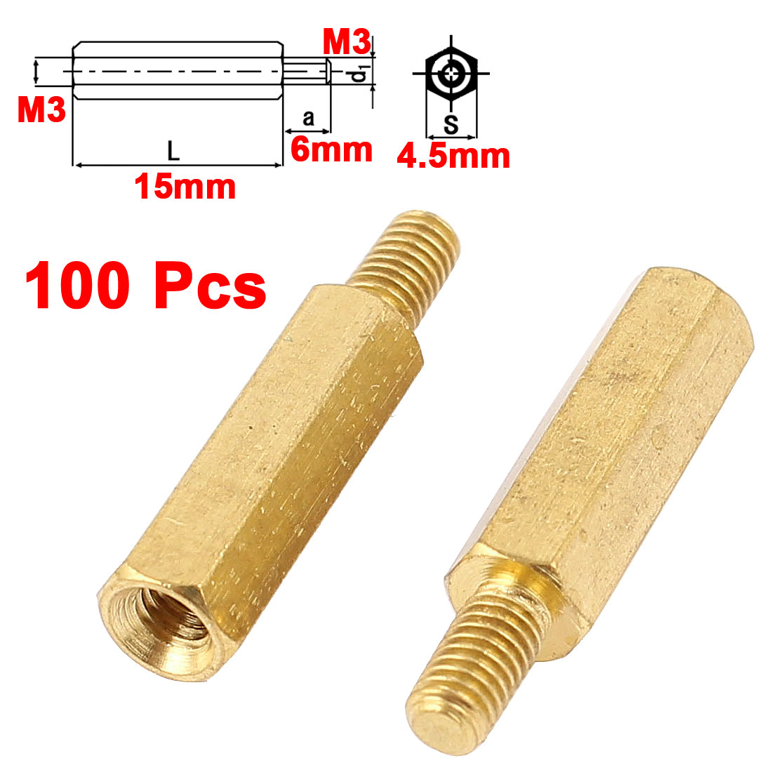 100Pcs M3 Male to Female Thread 15mm+6mm Brass Hexagon Standoff Spacer Pillar for PCB Board