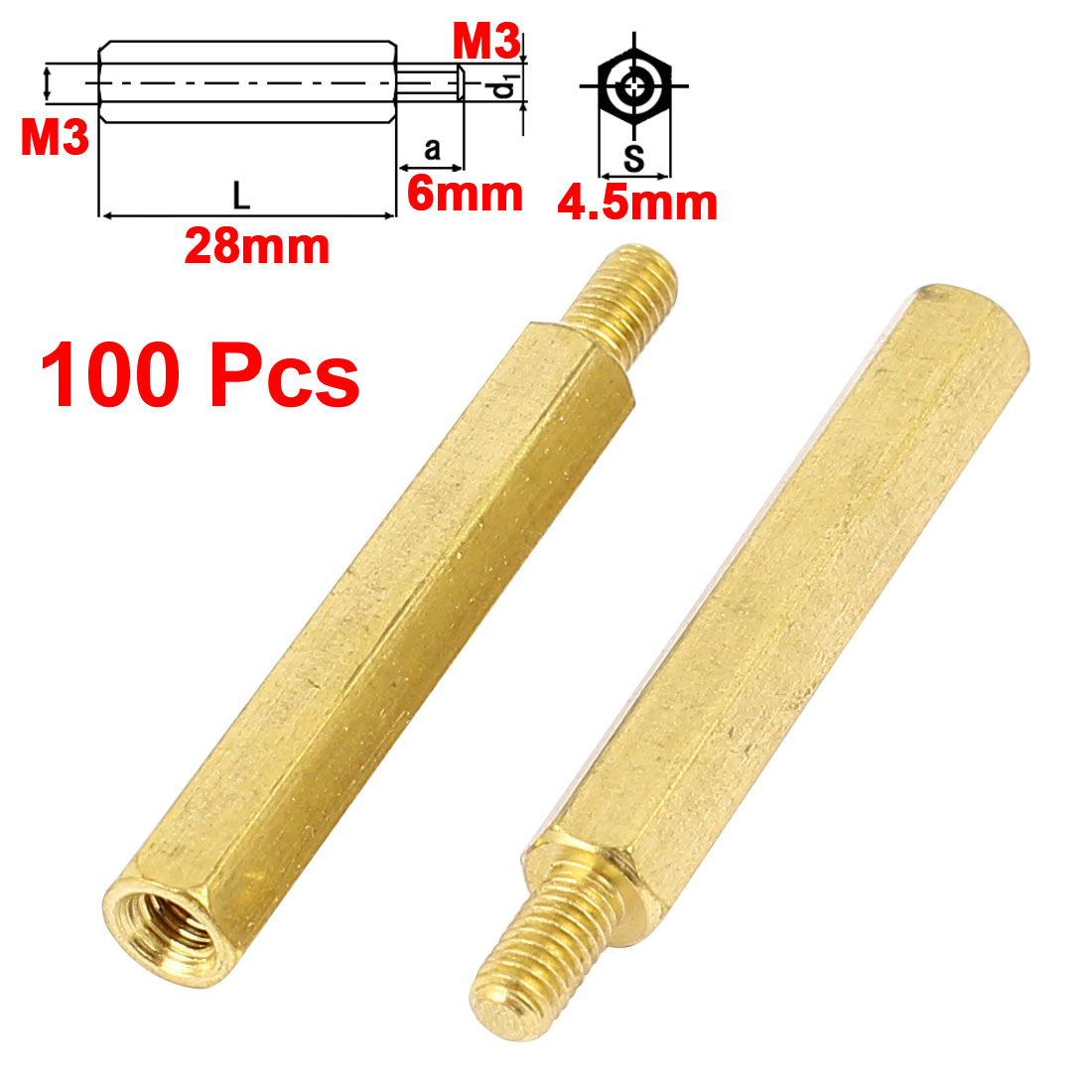 100Pcs M3 Male to Female 28mm+6mm Screw Threaded Brass Hex Standoff Spacer for PCB Motherboard