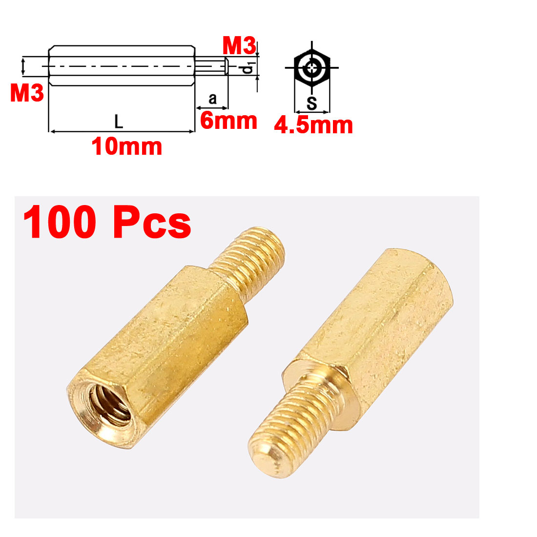 100Pcs M3 Male to Female 10mm+6mm Screw Threaded Brass Hex Standoff Spacer for PCB Motherboard
