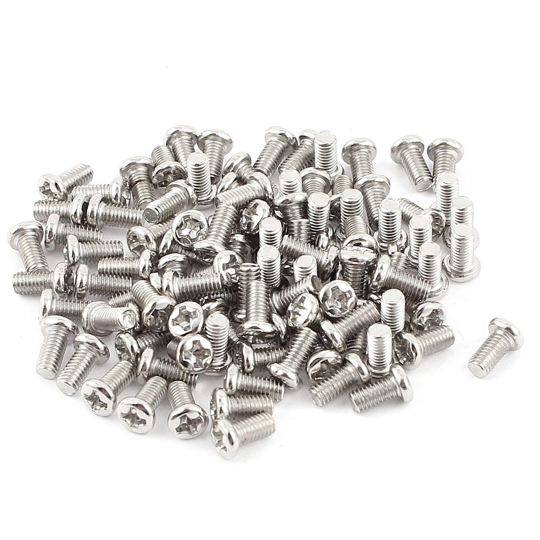 100pcs M3 x 6mm Recessed Crosshead Cross Head Threaded Screw Bolt Fasteners
