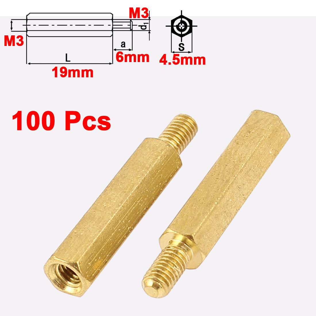 100Pcs M3 Male to Female 19mm+6mm Screw Threaded Brass Hex Standoff Spacer for PCB Motherboard