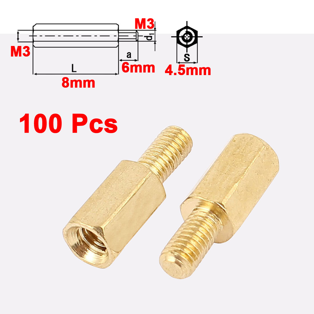 100Pcs M3 Male to Female 8mm+6mm Screw Threaded Brass Hex Standoff Spacer for PCB Motherboard