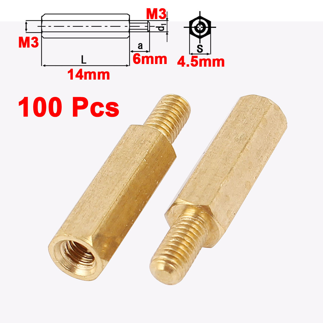 100Pcs M3 Male to Female 14mm+6mm Screw Threaded Brass Hex Standoff Spacer for PCB Motherboard