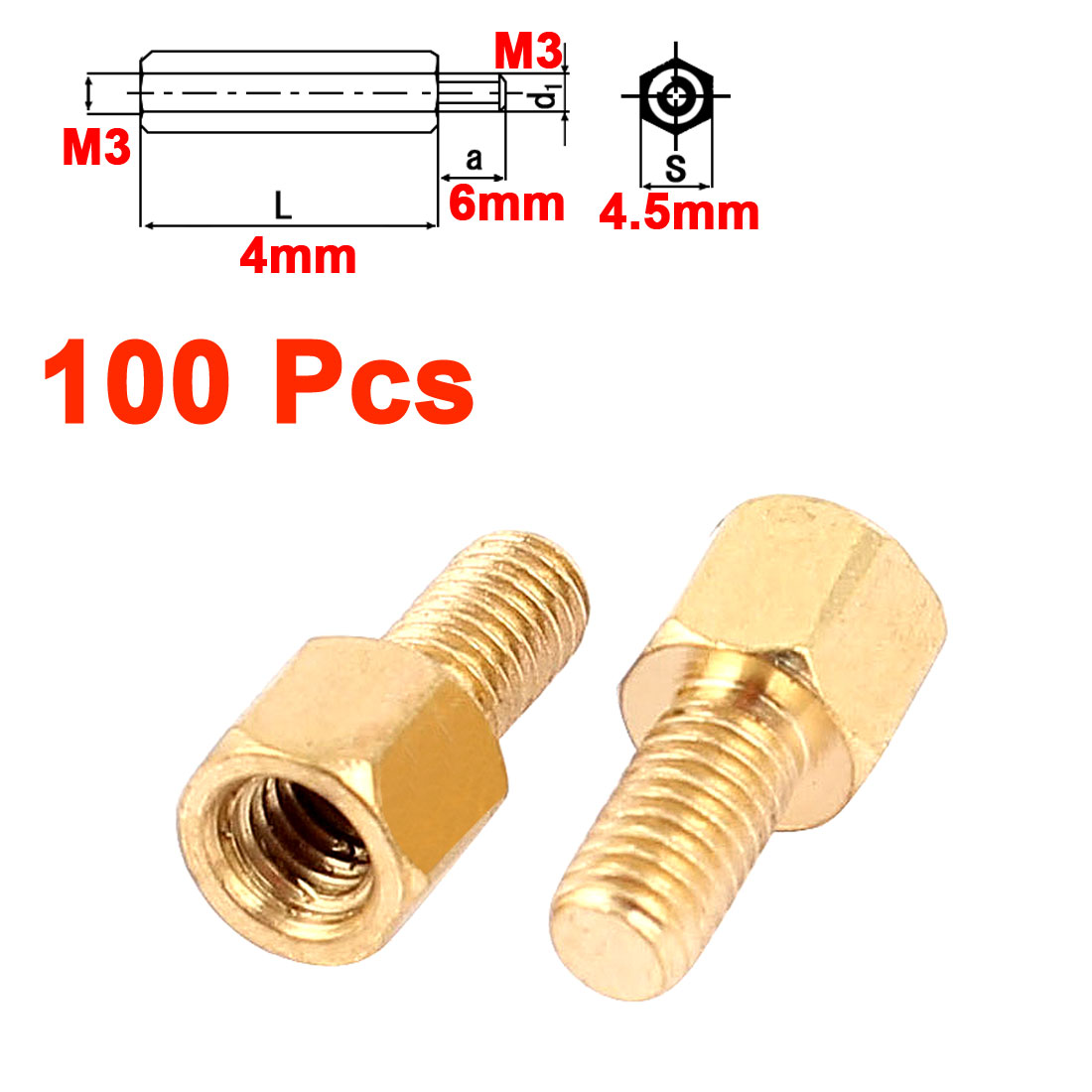 100Pcs M3 Male to Female 4mm+6mm Screw Threaded Brass Hex Standoff Spacer for PCB Motherboard
