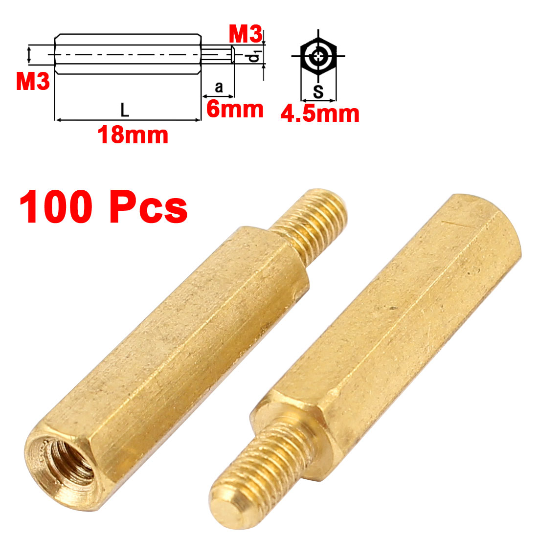 100Pcs M3 Male to Female 18mm+6mm Screw Threaded Brass Hex Standoff Spacer for PCB Motherboard